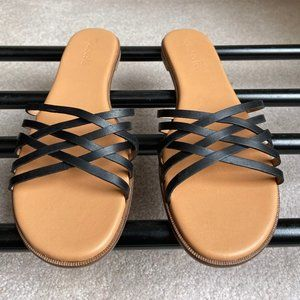 MADEWELL Women The Trace Leather Slide Sandals NEW